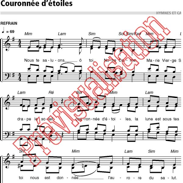 partition chant couronne d etoile