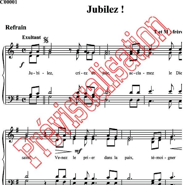 partition chant jubilez criez de joie